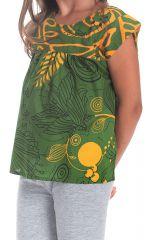 Top pour Fille Vert à manches courtes Original et Coloré Grignotin 280737
