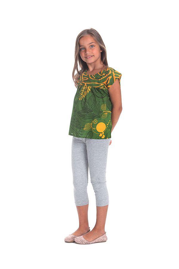 Top pour Fille Vert à manches courtes Original et Coloré Grignotin 280738