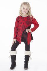 Top rouge et noir coupe asymétrique pour enfant 287568