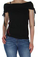 top tendance avec bandeau et motif floral noire Annie 290578
