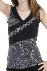Top tendance avec imprimé patchwork et col v noir Larissa 293945