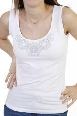 Top tendance avec imprimés mandalas  et larges bretelles blanc Rita 293766