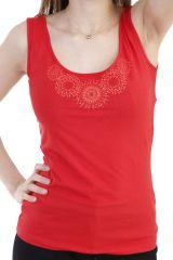Top tendance avec imprimés mandalas et larges bretelles rouge Rita 293775