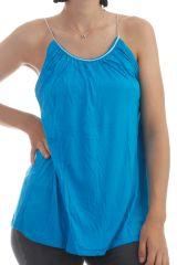 Top Turquoise uni avec bretelles tréssées en argent Missy 297702