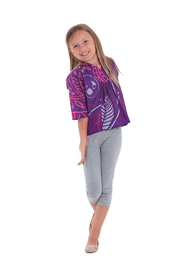 Top Violet pour Fille à manches 3/4 Original et Imprimé Gédéon 280498
