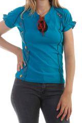 Tshirt Bleu à manches courtes bouffantes Mina 298171