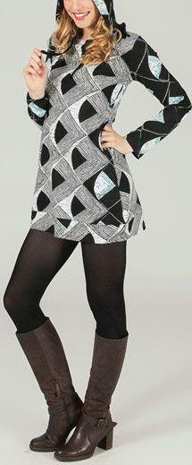 Tunique à capuche colorée et ethnique Géométrie Léliot 273895