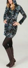 Tunique à capuche colorée et ethnique motifs Bleutés Léliot 273886