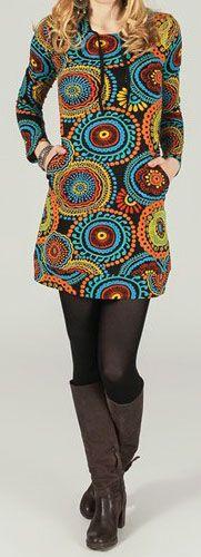 Tunique à capuche colorée et ethnique Multicolore Léliot 273884