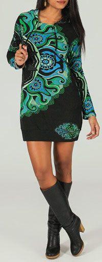 Tunique à capuche colorée et ethnique Noire & Bleue Léliot 273892