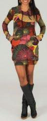 Tunique à capuche colorée et ethnique Tons chauds Hanaé 273875