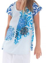 Tunique à col rond Imprimée Blanche et Bleue pour Fille Guimauve 280546