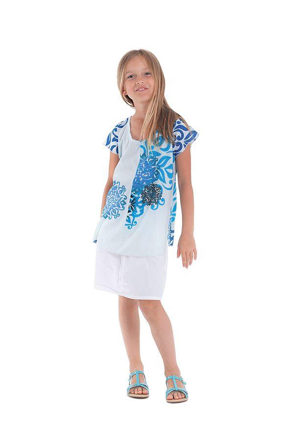 Tunique à col rond Imprimée Blanche et Bleue pour Fille Guimauve 280547