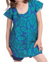 Tunique à col rond pour Fille Imprimée Guimauve Bleue et Verte 280555