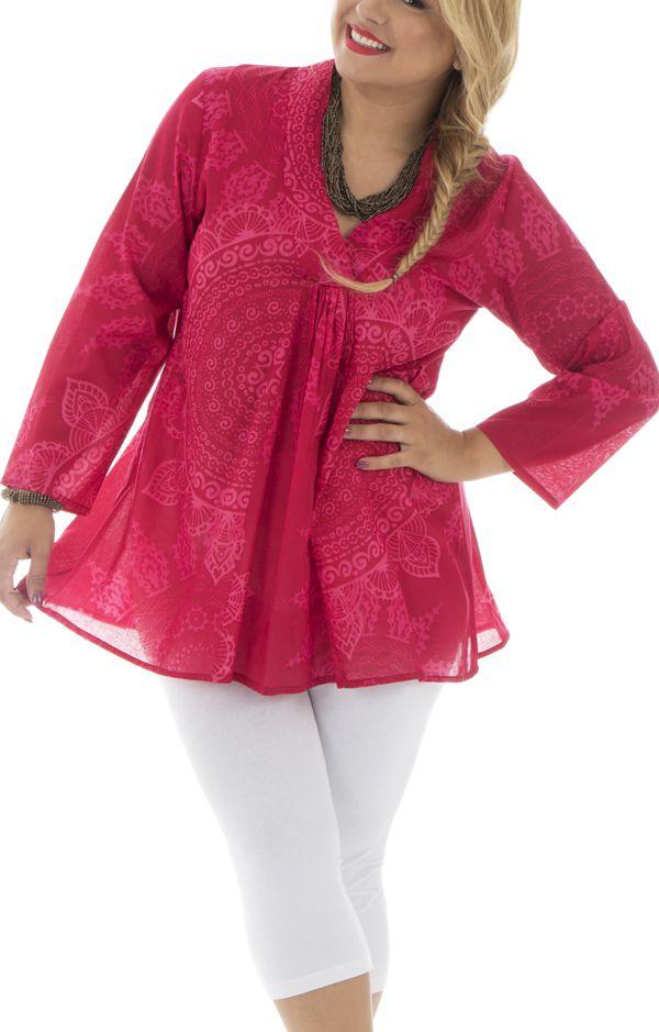 Tunique à col V en Grande taille Ethnique et Gaie Thaly Rose 294806