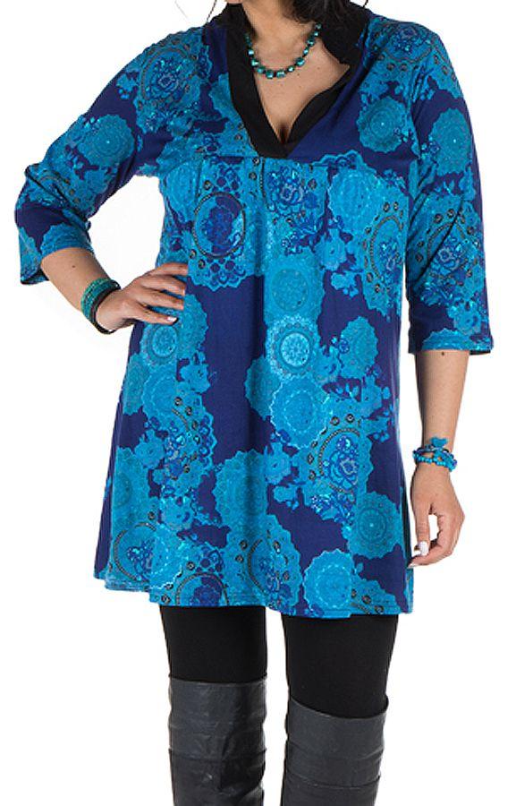 Tunique à imprimées tendance en coton bleue Bluedélis 302041