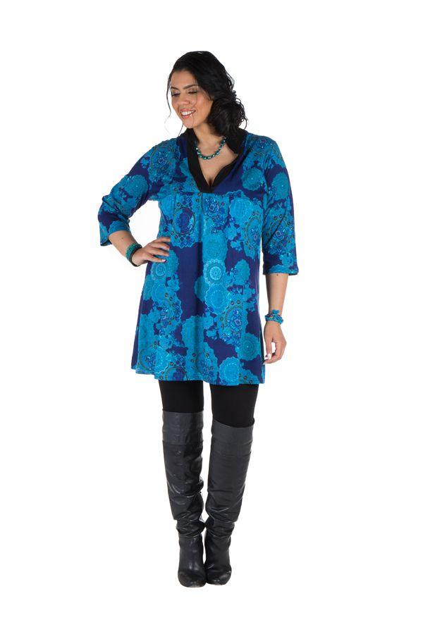 Tunique à imprimées tendance en coton bleue Bluedélis 302042