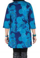 Tunique à imprimées tendance en coton bleue Bluedélis 302043