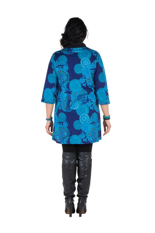 Tunique à imprimées tendance en coton bleue Bluedélis 302044