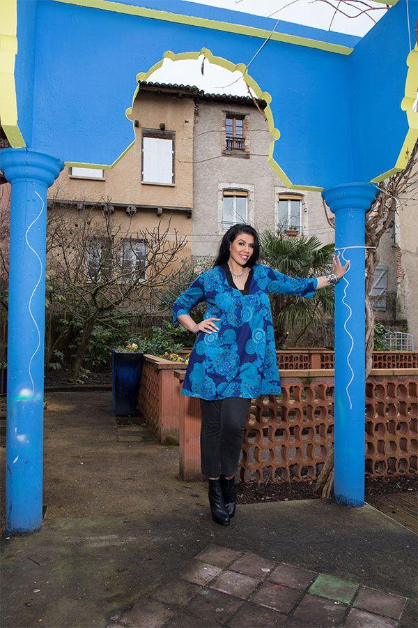 Tunique à imprimées tendance en coton bleue Bluedélis 302050