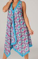 Tunique à larges bretelles Bleue Imprimée et Colorée Mitani 286050