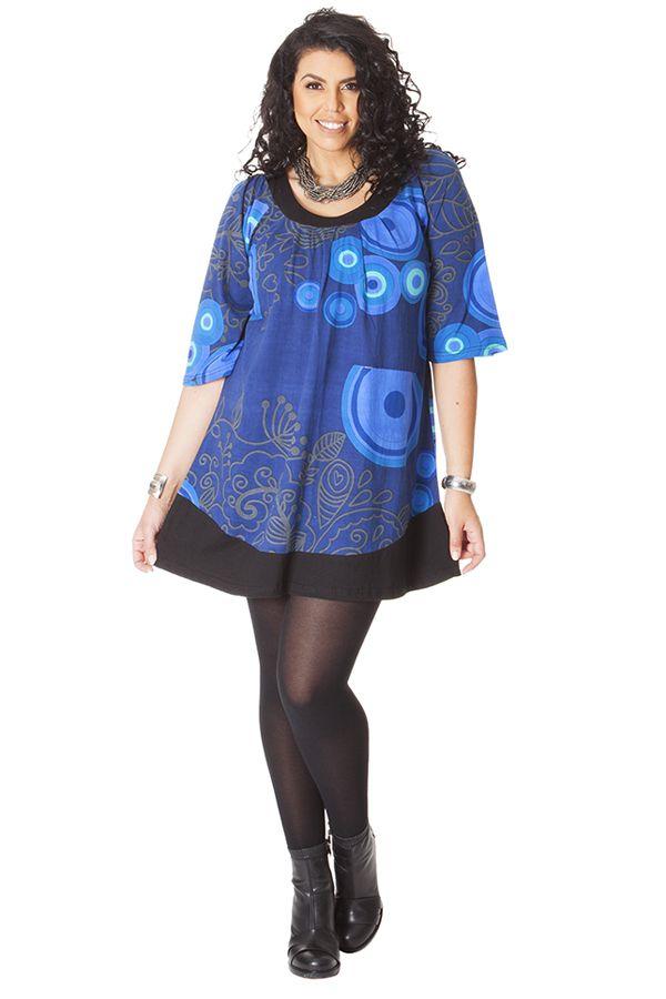 Tunique à manches 3/4 Ethnique et Féminine Bleue Stella 286500