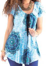 Tunique à manches courtes Ample et Ethnique Carola Blanche et Bleue 281678