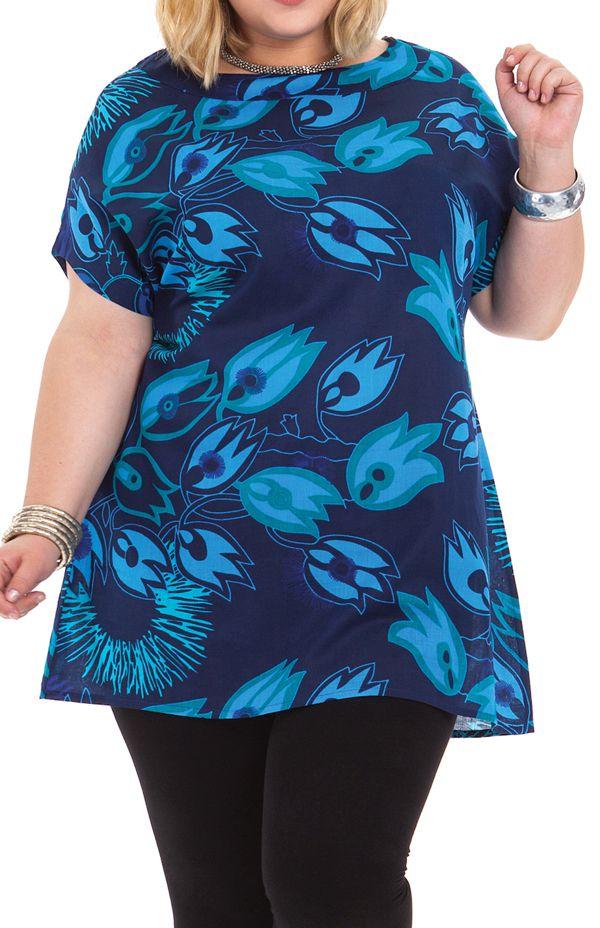 Tunique à manches courtes en Grande Taille Imprimée Noélie Bleue 284508
