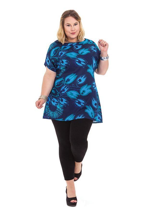 Tunique à manches courtes en Grande Taille Imprimée Noélie Bleue 284509