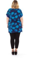 Tunique à manches courtes en Grande Taille Imprimée Noélie Bleue 284510
