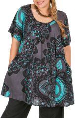 Tunique à manches courtes en grande taille très féminine Sya 309810