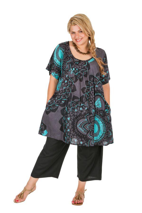 Tunique à manches courtes en grande taille très féminine Sya 309811