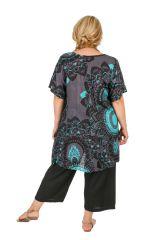 Tunique à manches courtes en grande taille très féminine Sya 309812
