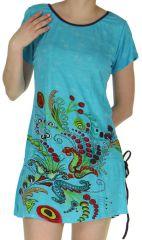 Tunique à manches courtes Fluide et Colorée Patricia Bleue 282514