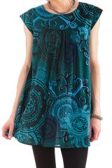 Tunique à manches courtes Originale et Colorée Tiphaine Bleue 281961