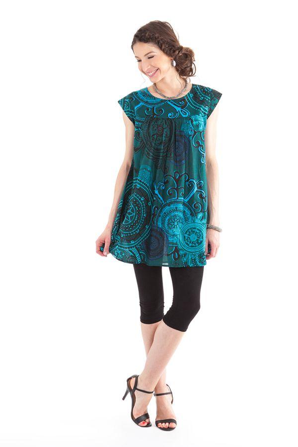 Tunique à manches courtes Originale et Colorée Tiphaine Bleue 281962
