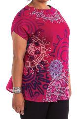 Tunique à manches courtes Rose en Grande Taille Imprimée Noélie 284511