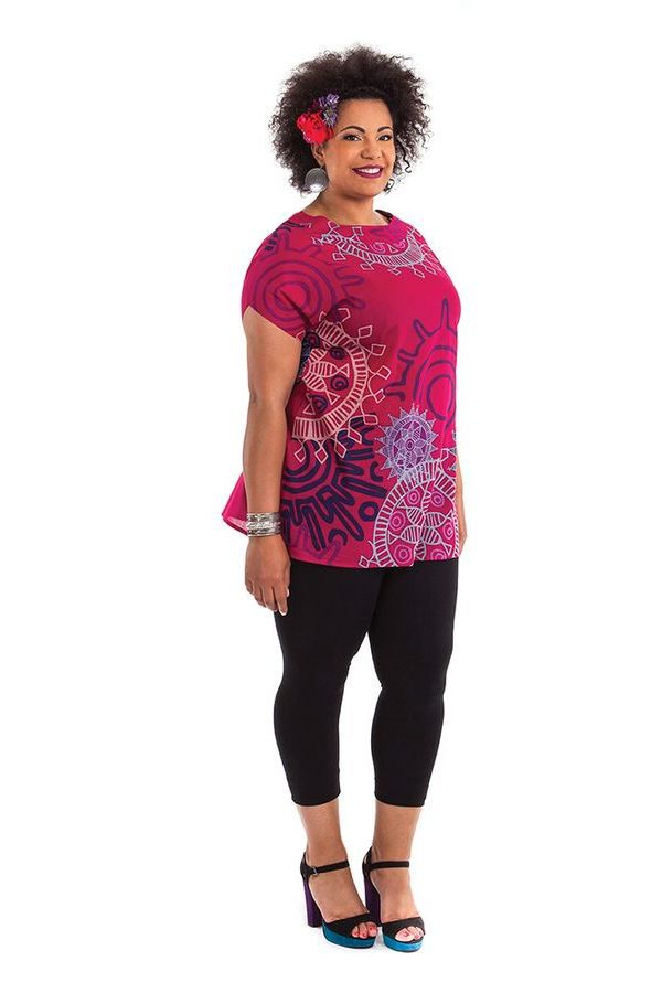Tunique à manches courtes Rose en Grande Taille Imprimée Noélie 284512