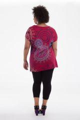 Tunique à manches courtes Rose en Grande Taille Imprimée Noélie 284513