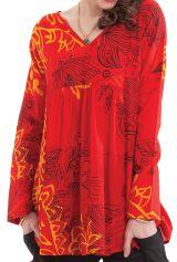 Tunique à manches longues ample et fluide avec un col en V rouge Coraline 282028