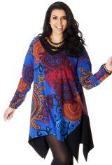 Tunique à manches longues Asymétrique et Colorée Enora Bleue 286751