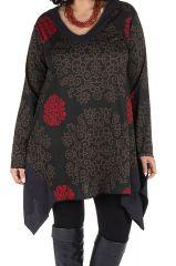 Tunique à manches longues en Grande taille Nouchka Noire et rouge 301183