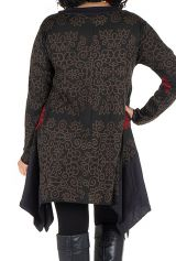 Tunique à manches longues en Grande taille Nouchka Noire et rouge 301184