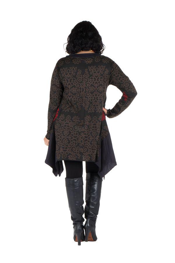 Tunique à manches longues en Grande taille Nouchka Noire et rouge 301186