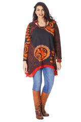 Tunique à manches longues Ethnique et Originale Annette Orange 286557