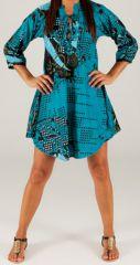 Tunique à manches longues Ethnique et Originale Chaina Turquoise 280927