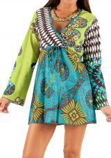 Tunique à manches longues Verte et Bleu Ethnique et Originale Anicham 285823