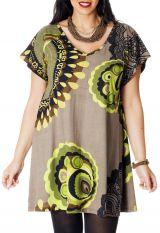 Tunique Adèle pour femme pulpeuse Ample à col en V Sable 286716