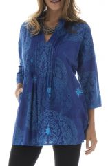 Tunique all over print manches 3/4 et col mao Clyde Bleu 293289