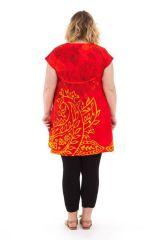 Tunique ample à manches courtes Colorée Barbara Rouge 284525